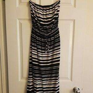 XXS J.Crew Strapless Striped Maxi Dress